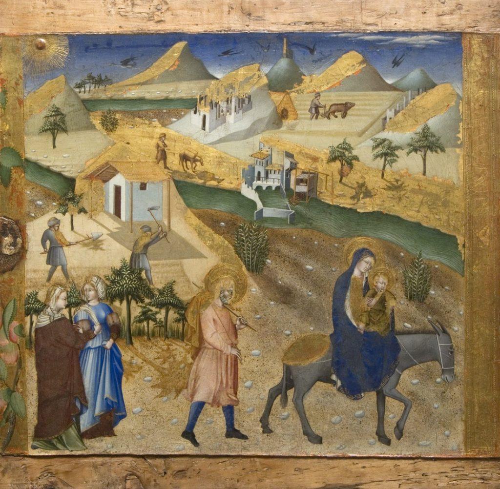 Giovanni di Paolo, Fuga in Egitto, 1436, Tempera su tavola, Siena, Pinacoteca Nazionale