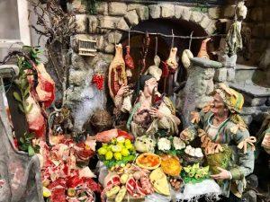 Presepe napoletano - osteria, particolare tavola, azienda Marco Ferrigno
