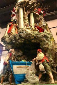 Presepe napoletano - scena presepe con barca e pescatori, azienda Marco Ferrigno